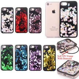Wholesale Diamond Bling Heart Iphone - Colorful Diamond Liquid Glitter Sand Love Heart Bling Soft TPU + Hard PC Back Case Cover For iPhone 6 6s 6Plus 7 7Plus Plus Phone Cases