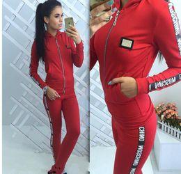 Wholesale mo pants - hot: mos Tracksuit Women Spring Autumn Casual Suit (Hooded Sweatshirt+Long Pants) Zipper Leisure Suits high qualit