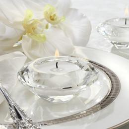 Wholesale Tealight Candle Holder Free Shipping - 50pcs Free Shipping Clear Crystal Candle Holder Tealight Candlestick Wedding Decoration Gift WA2193
