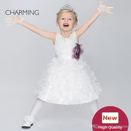 Wholesale Toddler Girls Flower Design Dress - Toddler glitz pageant dresses Kids design clothes Flower girl dress ivory high quality Pageant dresses for girls China suppliers