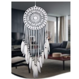 Wholesale Hanging Wedding Decoration - Handmade Lace Dream Catcher Circular With Feathers Hanging Decoration Ornament Craft Gift Crocheted White Dreamcatcher Wind Chimes