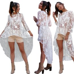 Wholesale Dipped Hem Dresses - Sexy Mesh Floral Embroidered Dip Hem Dress For Women Ladies Sheer Gauze Cover Up Dresses   White S-XXL   Wholesale Cheap DHL Fast Shipping