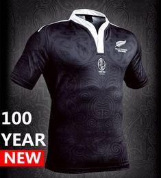 Wholesale rugby shirts blacks - 100 year Anniversary Commemorative Edition New Zealand rugby jerseys 2017 Maori All Blacks jersey Australia T shirt