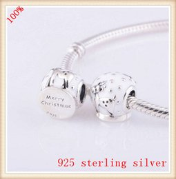 Wholesale Wholesale Snow Globe - Wholesale- Sterling Silver Screw Bead Snow Globe with Enamel European Charm Fit Original Style Jewelry Bracelet Necklaces & Pendants