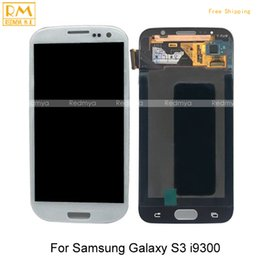 Wholesale Digitizer Frame Galaxy S3 - DHL 1pcs For Samsung Galaxy S3 i9300 i9305 i747 i535 T999 LCD Display+Touch Screen Digitizer With Frame Assembly Replacement Parts Original