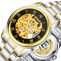 Wholesale Mechanical Hollow Sided - automatic mechanical watch luxury brand watches steel double sided hollowed out water resistant Tempered glass anti-scratch luminous for men