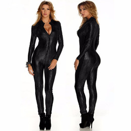 Wholesale Leather Jumpsuits For Women - Wholesale- Sexy Catsuit Long Sleeve Jumpsuit For Women Vinyl Leather Jumpsuit Hot Sale New Black Sliver Gold Sexy Leather Bodysuit W207980