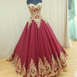 Wholesale Sexy African Dresses Pictures - Arabic 2017 Gold Lace Appliques Long Prom Dresses A Line Sweetheart Plus Size Dark Red Burgundry African Kaftan Formal Evening Party Gowns