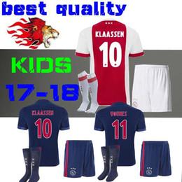 Wholesale Baby Kit S - Thai quality 2017 2018 Ajax FC kids kits+socks soccer jersey 17 18 KLAASSEN FISCHEA BAZOER MILIK uniforms shirt baby Ajax FC Football jersey