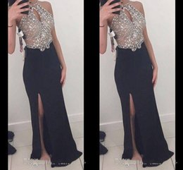 Wholesale High Neck Rhinestone Prom Gown - High Quality 2017 sheath Illusion Long Prom Dresses Side Split Rhinestones Beaded Halter Sexy Sheer Bodice Formal Dresses Evening Gowns