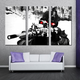Wholesale Military Art Prints - 3 Picture Wall Art Painting Sniper Aim Military Pictures Prints On Canvas Military Modern Giclee Artworks for Home Decor with Wooden Framed