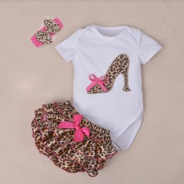 Wholesale High Neck Baby Bodysuit - Wholesale- 3Pcs Set Baby Newborns 2016 Summer Cotton Short Sleeve Leopard Bodysuit High-heeled Shoes Print Ruffles Baby Girl Clothing Sets