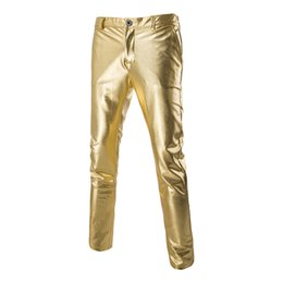 Wholesale Male Blazers - Wholesale- Fashion Blazer Pants Men Shiny Bronzing Slim Fitness Casual Trousers 2016 New Solid Costume Long Black Golden Formal Pants Male