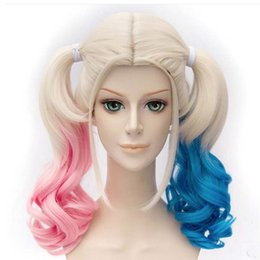 Wholesale Red Synthetic Ponytail - Wholesale Movie Batman Suicide Squad Harleen Quinzel Harley Quinn Cosplay Wig Styled Curly Synthetic Ponytail Wig Heat Resistant Hair Wigs