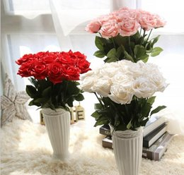 Wholesale Single Stem Rose Flower - New arrival 17'' artificial single rose stem bouquets silk flowers 5 colors for wedding party centerpieces home holiday decoration