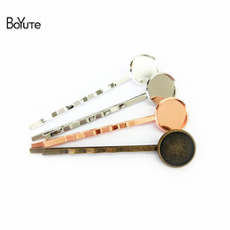 pinces à cheveux rondes Promotion BOYuTe 50Pcs Round 10MM 12MM 14MM Cabochon Base Hair Clip Blank Tray DIY Hair Jewelry Findings