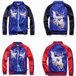 Wholesale Satin Jackets Men - Baseball Jacket Streetwear Men Hip Hop Chaquetas Bomber Jackets Hombre Satin Women Embroidery Flower Bomber Jacket