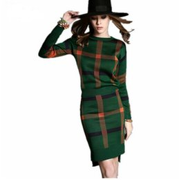 Wholesale Wool Red Knit Dress - 2 Piece Sets New Arrival Sale Women's Tracksuit knitted Pullover Sweaters 2017 Winter plaid skirt suits Casual Loose Sweater