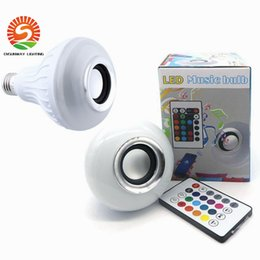 Wholesale Keys Colored - 30% OFF E27 LED Bulbs Wireless Bluetooth 6W LED Speaker Bulb RGBW Music Playing Lighting With 24 Keys IR Remote Control FREE SHIPPING