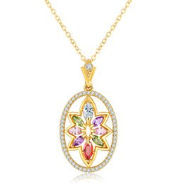 Wholesale Gold Oval Locket Necklace - Unique Gemetric Oval Shape Design Real Gold Jewelry 18K Chain Swarovski Crystals Vintage Necklaces For Women 022-NE0109