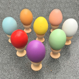 Wholesale Easter Color Egg - Multicolor Wooden Easter Eggs 4.5*6cm Easter Day Wood Toys Solid color DIY painting Egg For Children Gifts April Fools' Day EMS DHL free