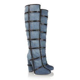 Wholesale High Boots Heels Thigh Zipper - Fashion Denim Blue Jeans Women Boots Cross Bandage Thigh High Boots Side Zipper Round Toe Over The Knee Boots For Women
