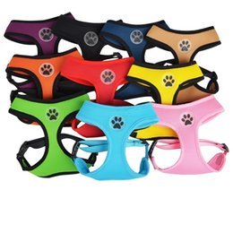 Wholesale Dog Collars Paws - New design Soft Air Mesh pet Dog Harness with Paw Label Popular Pet Harness belt wa3178