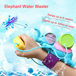 Wholesale Color Blaster - Elephant Water Blaster Children Favorite Summer Beach toys Educational Water Fight Pistol Swimming Wrist Water Guns LA483