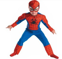 Wholesale Supplies For Children S Parties - OISK Best Quality Child Muscle Spiderman Costume Fantasy Halloween Costumes for Kids Boy Superhero Party Supply
