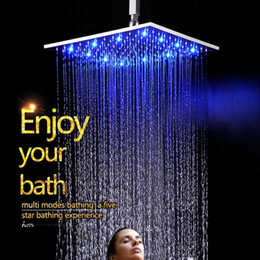 Wholesale mounted shower - China Factory Supply Water Glow LED Color Change According To Water Temperature Bathroom Square Shower Head