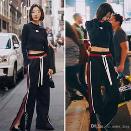 Wholesale Ladies Suit Pants Shirt - 2017 Spring Women 2 Piece Set Lady Patchwork Sporting Suit Black Shirt +Pant Suits Track suit Women autumn Tracksuits