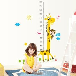 Wholesale Giraffe Graphic - Growth Chart Decal PVC Large Wall Sticker Water Proof Cartoon Giraffe Measure Height Wallpaper For Kid Room Home Decor 2 86pf F R