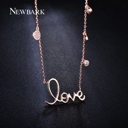 Wholesale Pave Link Chain Wholesale - Wholesale-NEWBARK 18K Rose Gold Plated Romantic Letter Love Pendant Necklace Paved Micro AAA Cubic Zirconia Diamond
