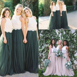 Wholesale Two Toned Chiffon Bridesmaid Dresses - Two Tone Lace Crop Country Long Bridesmaid Dresses 2018 Hunter Green Plus Size Junior Maid of Honor Wedding Party Guest Gowns