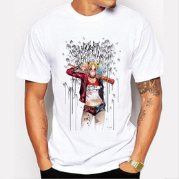 style joker shirt Coupons - Wholesale- Men's Suicide Squad T Shirt Harley Quinn Joker T-Shirt Summer Style Funny HAHA Pretty Woman Print Tee Men Short Sleeve Clothing