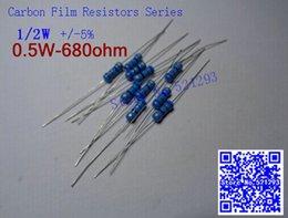 Carbonio resistente online-Wholesale- 1 2W 680 ohm 680R 5% resistor 1 2w 680 ohm carbon film resistor   0.5W color ring resistance (100pcs lot)