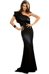 Wholesale Solid Black Mermaid Prom Dress - Newest Womens Summer Dresses 2017 Black Ruffle One Shoulder Elegant Mermaid Dress Long Prom Gown Vestidos De Festa