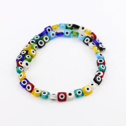 Wholesale Red Eye Love - Mixed Color Square Evil Eye beads, Turkish Flat Evil Eye Beads For Jewelry, Lampwork Glass Bead 8mm 10mm 12mm