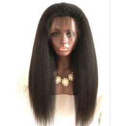 Parrucca grossolana dei capelli umani di yaki online-Parrucche piene del pizzo dei capelli umani di 130% densità Parrucche piene del pizzo di Yaki di massima Parrucche piene del merletto peruviano diritte crespi