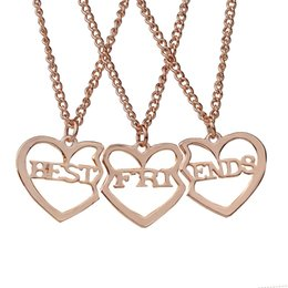 Wholesale Friends Gold - 3pcs set Best Friends Pendant Necklaces Silver Gold Heart Friendship BFF Necklace for Women Girls Fashion Jewelry Drop Shipping