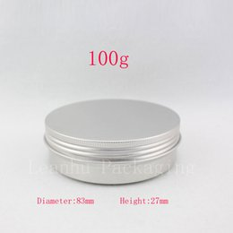 Wholesale Cream Can Lid - Empty cosmetic container,100g X 50 aluminum jar with screw lid ,3.5oz metal bottle for cream , ointment, storage ,candle can