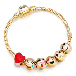 Wholesale 18k Gold Snake Ring - 2016 Hot Sells Emoji Charm Bracelets Gold Plated 6 Pcs Beads DIY Jewelry fit Bracelet for Women Men New Year Christmas Gifts AA120