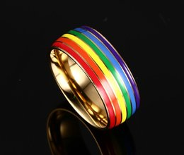 Wholesale Pride Stainless Steel Rings - 8mm gold&silver color stainless steel lesbian and gay pride rainbow rings men and women rings titanium steel rings accessories wholesale