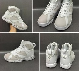 Wholesale Money Split - Wholesale DS 2017 Air Retro 7 Pure Money White Metallic Silver With Box Best Quality Basketball Shoes