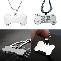 Wholesale Laser Pet Tags - Stainless Steel Silver Dog Bone Shaped Design Blank Tags Metal Mirror Surface Blank And Laser Engravable Pendants Pet ID Card C44L