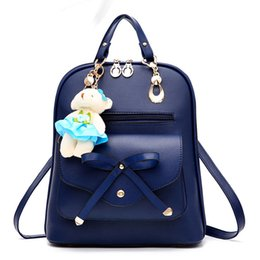 Wholesale american girl school backpack - High quality PU leather backpack school travel bag women bolsos vintage backpacks black For Girls Teenagers