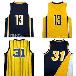 Wholesale George Shirts - Top quality # Paul George Jerseys #31 Reggie Miller Basketball Jersey Men Sports wear embroidered Logos Cheap sports shirts