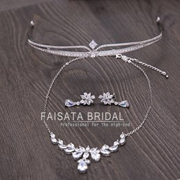 Wholesale Fairy Cross Stone - New Shinny Luxury Bridal Jewelry Sets Crystal Wedding Crown Earrings Necklace Tiaras Accessories Fashion Headbands Bridal Accessories 3PCS