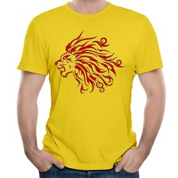 Wholesale T Shirt Designs Tattoo - Casual sport shirts lion tattoo t shirt and male funny t shirts 100% cotton fashion creative design men t-shirts 5XL black red