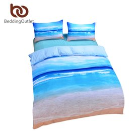 Wholesale Brand New Crib - Wholesale-Brand New Beach And Ocean Bedding Hot 3D Print Duvet Cover Cheap Vivid Comforter Set Twin Queen King Wholesale